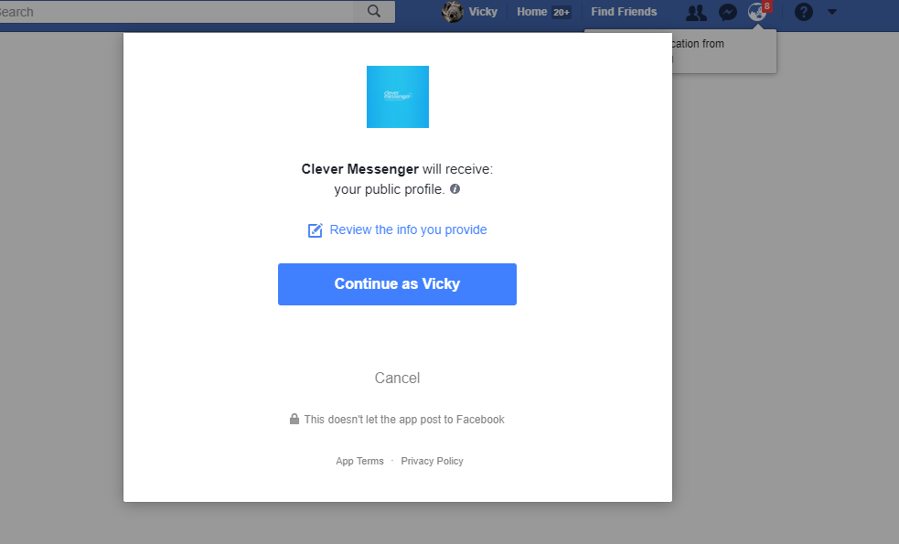 facebook pop up, first time login, setting up your account